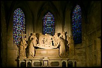 Lit sculpture of Christ laid to rest, St Trophime church. Arles, Provence, France