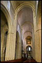 Romanesque style nave, St Trophime church. Arles, Provence, France