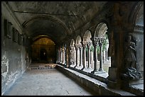 Romanesque gallery with delicately sculptured columns, St Trophimus cloister. Arles, Provence, France
