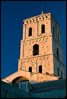 Bell tower in provencal romanesque style. Arles, Provence, France