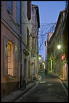 Narrow street at night. Arles, Provence, France ( color)