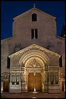Facade of the Saint Trophimus church at night. Arles, Provence, France (color)