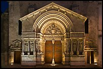 Portal of Trophime church with representation of the Last Judgment. Arles, Provence, France (color)