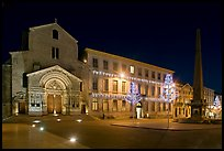 Place de la Republique and Eglise Saint Trophime at night. Arles, Provence, France (color)