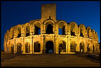Roman Arena at night. Arles, Provence, France (color)