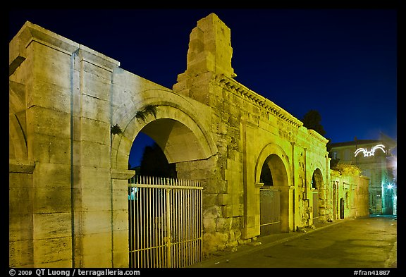 Roman theatre at night. Arles, Provence, France (color)