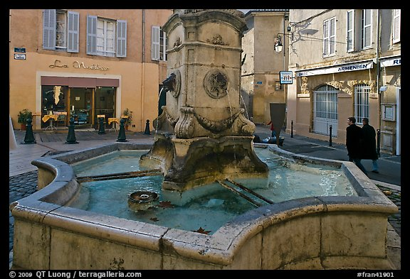 Fountain in old town plaza. Aix-en-Provence, France (color)