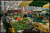 Food shopping in daily vegetable market. Aix-en-Provence, France