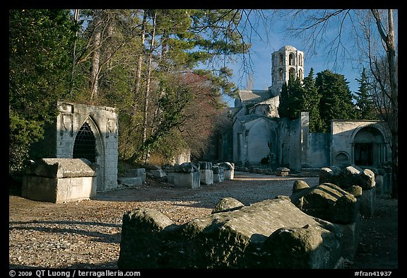 Tombs, mausoleums, and church, Alyscamps. Arles, Provence, France (color)