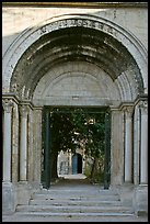 Gate of St Honoratus church, Alyscamps. Arles, Provence, France
