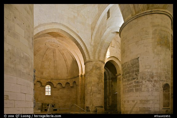 Romanesque interior of Saint Honoratus church, Alyscamps. Arles, Provence, France (color)
