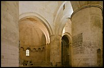 Romanesque interior of Saint Honoratus church, Alyscamps. Arles, Provence, France