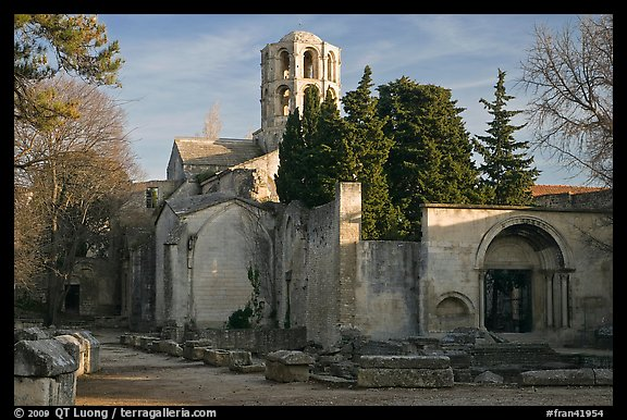 Medieval Church of Saint Honoratus in Les Alyscamps. Arles, Provence, France (color)