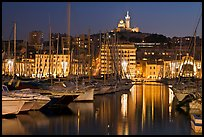 Harbor and Notre Dame de la Garde Basilic on hill. Marseille, France (color)