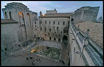 Honnor courtyard and walls from above, Palace of the Popes. Avignon, Provence, France ( color)