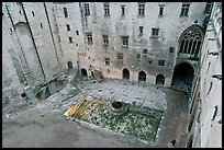 Courtyard of honnor from above, Papal Palace. Avignon, Provence, France