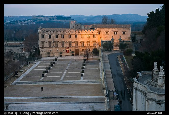 Petit Palais and plazza seen from Papal Palace. Avignon, Provence, France (color)