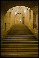 Stairs inside Palace of the Popes. Avignon, Provence, France ( color)