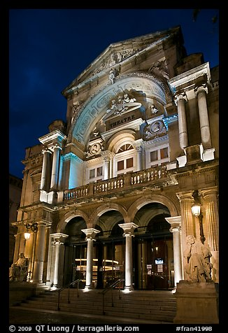 Theatre at night. Avignon, Provence, France (color)