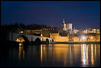 Avignon skyline at night with Papal Palace, Episcopal Ensemble and Avignon Bridge. Avignon, Provence, France