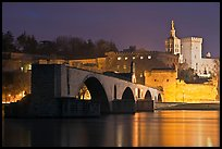 St Benezet Bridge and Palace of the Popes at night. Avignon, Provence, France (color)