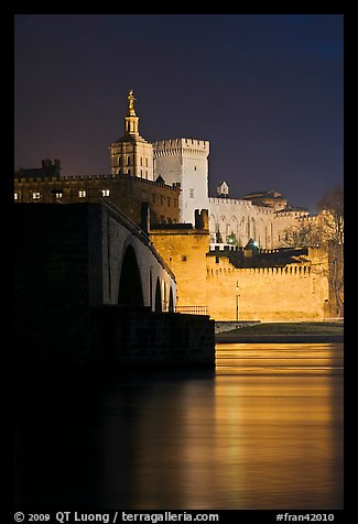 Rhone River, St Benezet Bridge and Palais des Papes at night. Avignon, Provence, France