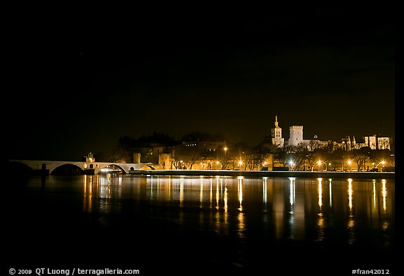 Avignon skyline at night with lights reflected in Rhone River. Avignon, Provence, France