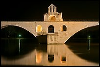 St Benezet Bridge with chapel of St Benezet at night. Avignon, Provence, France (color)