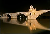 Pont d'Avignon at night. Avignon, Provence, France (color)