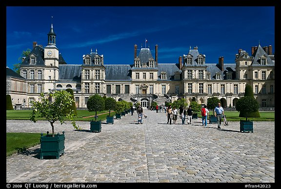 Cour du Cheval Blanc, Chateau de Fontainebleau. France (color)