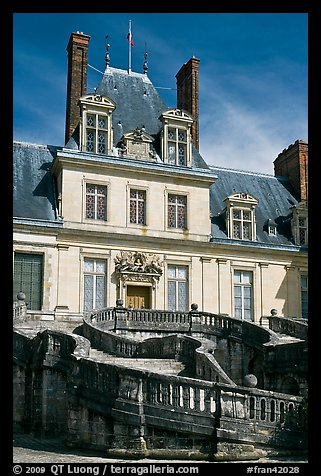 Staircase and Palace of Fontainebleau. France (color)