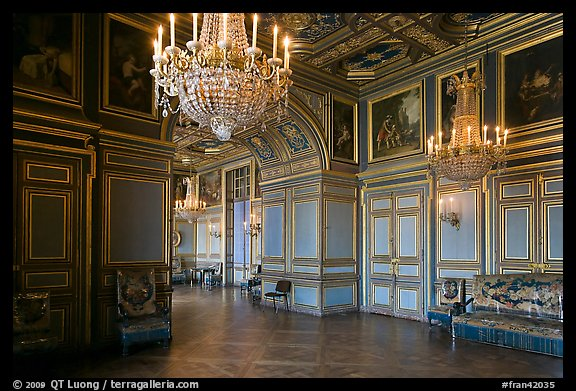 Entrance of the Louis 13 room, Fontainebleau Palace. France (color)