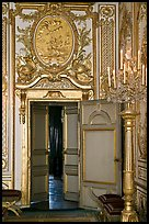 Fontainebleau Palace interior with richly decorated walls. France
