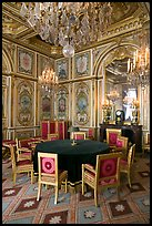 Room with meeting table inside Chateau de Fontainebleau. France