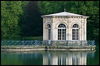 Pavillion and reflection, Palace of Fontainebleau. France (color)