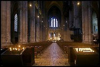 Candles and nave inside Cathedrale Notre-Dame de Chartres. France (color)