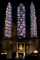 Chapel and stained glass windows, Chartres Cathedral. France