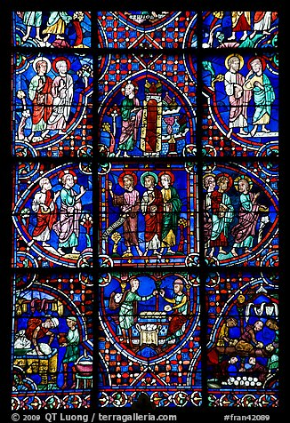 Detail of stained glass window, Chartres Cathedral. France (color)