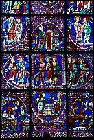 Detail of stained glass window, Chartres Cathedral. France