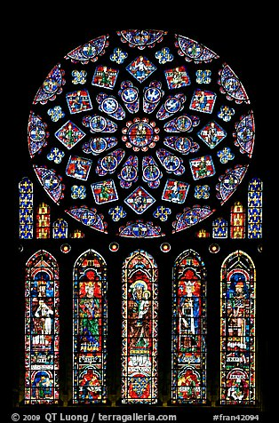 Set of rose window with five lancets called Rose of France, Chartres Cathedral. France (color)