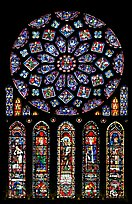 Set of rose window with five lancets called Rose of France, Chartres Cathedral. France