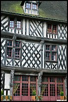 Facade of medieval half-timbered house, Chartres. France ( color)