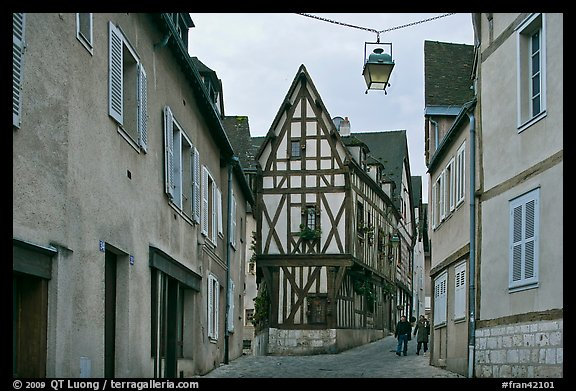 Street and half-timbered house, Chartres. France