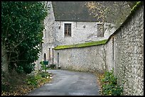 Street and stone wall, Provins. France