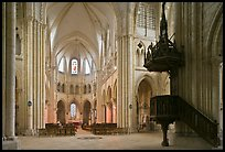 Interior of  Saint Quiriace Collegiate Church, Provins. France (color)