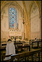 Monks praying in chapel, Saint Quiriace Collegiate Church, Provins. France (color)