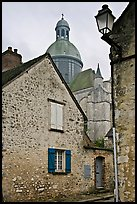 Stone houses and dome of Saint Quiriace Collegiate Church, Provins. France