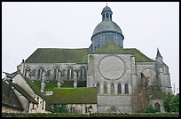 Mossy roofs and dome, Saint Quiriace Collegiate Church, Provins. France