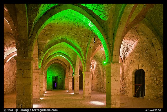 Vaulted room illuminated with colored lights, Provins. France (color)