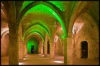 Vaulted room illuminated with colored lights, Provins. France